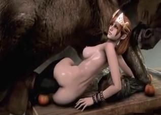 Redheaded 3D slut fucks a horse sideways